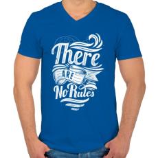 PRINTFASHION Nincsenek szabályok - Férfi V-nyakú póló - Királykék
