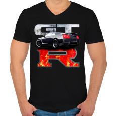 PRINTFASHION Nissan GTR - Férfi V-nyakú póló - Fekete