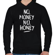 PRINTFASHION No Money No Honey - fehér - Férfi kapucnis pulóver - Fekete
