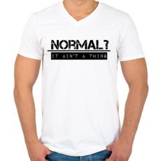 PRINTFASHION NORMAL? - Férfi V-nyakú póló - Fehér