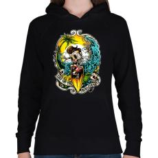 PRINTFASHION Nyaralás - Női kapucnis pulóver - Fekete