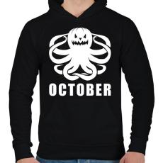 PRINTFASHION Október - Férfi kapucnis pulóver - Fekete
