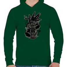 PRINTFASHION Ordíts a világba - Férfi kapucnis pulóver - Sötétzöld