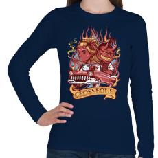 PRINTFASHION Ördögi sofőr - Női hosszú ujjú póló - Sötétkék