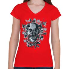 PRINTFASHION Ördögkoponya - Női V-nyakú póló - Piros