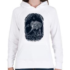 PRINTFASHION Ormányos - Női kapucnis pulóver - Fehér