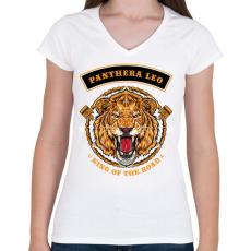 PRINTFASHION Oroszlán - Női V-nyakú póló - Fehér