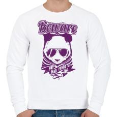 PRINTFASHION Őrült panda - Férfi pulóver - Fehér