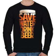 PRINTFASHION Óvd a vizet, igyál sört - Férfi pulóver - Fekete