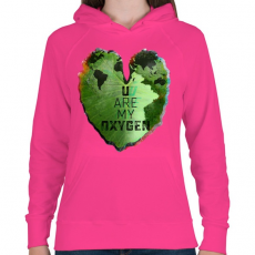 PRINTFASHION Oxigénem - Női kapucnis pulóver - Fukszia