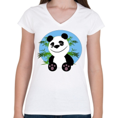 PRINTFASHION panda - Női V-nyakú póló - Fehér