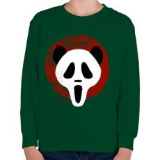 PRINTFASHION Panda Sikoly - Gyerek pulóver - Sötétzöld