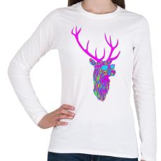 PRINTFASHION Party deer - Női hosszú ujjú póló - Fehér