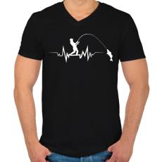 PRINTFASHION PECA ÉLETJEL - Férfi V-nyakú póló - Fekete