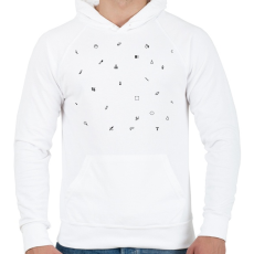 PRINTFASHION Pixel - Férfi kapucnis pulóver - Fehér
