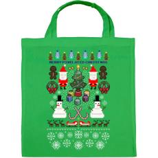 PRINTFASHION Pixel Karácsony - Vászontáska - Zöld