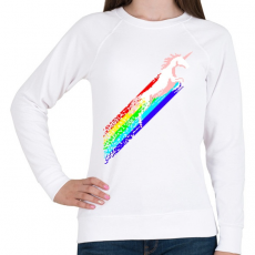 PRINTFASHION Pixel unicorn - Női pulóver - Fehér