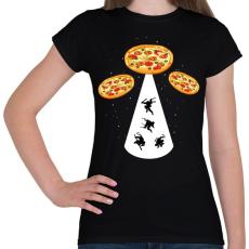 PRINTFASHION Pizza UFO - Női póló - Fekete