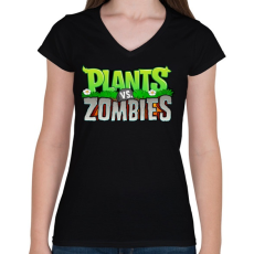 PRINTFASHION Plants vs. Zombies - Női V-nyakú póló - Fekete