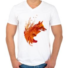 PRINTFASHION Plattensee fox - Férfi V-nyakú póló - Fehér