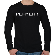 PRINTFASHION PLAYER 1 - Férfi hosszú ujjú póló - Fekete