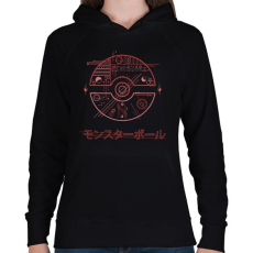 PRINTFASHION Pokélabda - Női kapucnis pulóver - Fekete