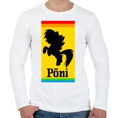 PRINTFASHION Póni - Ferrari paródia - Férfi hosszú ujjú póló - Fehér