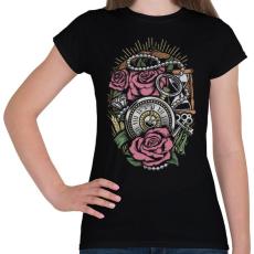PRINTFASHION Pontos idő  - Női póló - Fekete