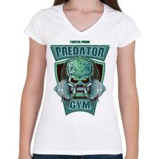 PRINTFASHION Predator Gym - Női V-nyakú póló - Fehér