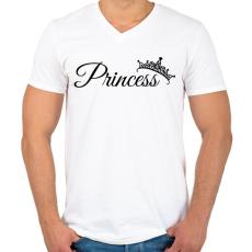 PRINTFASHION Princess - Férfi V-nyakú póló - Fehér
