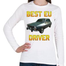 PRINTFASHION PUBG - Best EU Driver - Női hosszú ujjú póló - Fehér