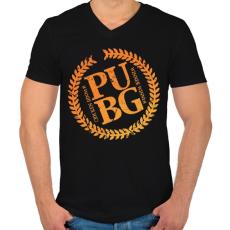 PRINTFASHION PUBG LOGO - Férfi V-nyakú póló - Fekete