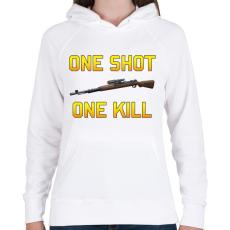 PRINTFASHION PUBG - One Shot, One Kill - Női kapucnis pulóver - Fehér