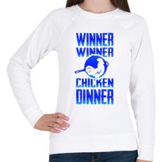 PRINTFASHION PUBG - WINNER (Kék) - Női pulóver - Fehér