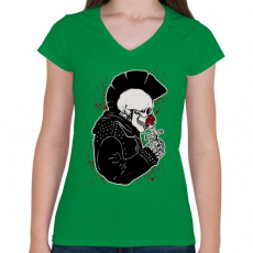 PRINTFASHION Punk szerelem - Női V-nyakú póló - Zöld