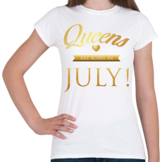 PRINTFASHION Queens are born in. - Női póló - Fehér