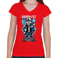 PRINTFASHION Rappin - Női V-nyakú póló - Piros