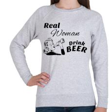 PRINTFASHION Real Women Drink BEER - Női pulóver - Sport szürke