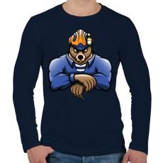PRINTFASHION Rescue Bear - Férfi hosszú ujjú póló - Sötétkék