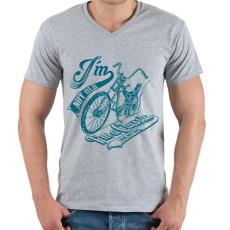 PRINTFASHION Retro bicikli - Férfi V-nyakú póló - Sport szürke