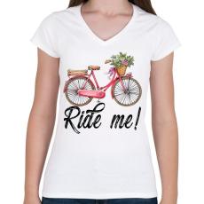 PRINTFASHION Ride me! - Női V-nyakú póló - Fehér