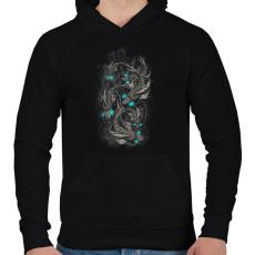 PRINTFASHION Robothalak - Férfi kapucnis pulóver - Fekete