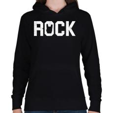 PRINTFASHION Rock and roll - Női kapucnis pulóver - Fekete