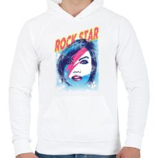 PRINTFASHION Rock sztár - Férfi kapucnis pulóver - Fehér