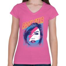 PRINTFASHION Rock sztár - Női V-nyakú póló - Rózsaszín