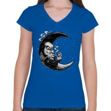 PRINTFASHION Rocker hold - Női V-nyakú póló - Királykék