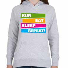 PRINTFASHION Run Eat Sleep Repeat! - Futás - Női kapucnis pulóver - Sport szürke
