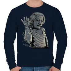 PRINTFASHION Salt Bae Einstein - Férfi pulóver - Sötétkék