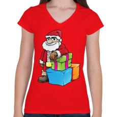 PRINTFASHION Santa - Női V-nyakú póló - Piros