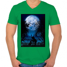 PRINTFASHION Sejtelmes holdfény - Férfi V-nyakú póló - Zöld